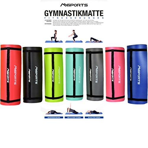 MSPORTS Gymnastikmatte Studio 183 x 61 x 1,5 cm | inkl. Übungsposter und Tragegurte | Hautfreundliche - Phthalatfreie Fitnessmatte - Königsblau - sehr weich | Yogamatte