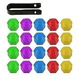 ARTGEAR 20 Piezas 19mm Universal Tapones Tapas de Tornillos Tuerca para Rueda Neumática Llanta de Coche con Herramienta para extaer (Rojo, Amarillo, Verde, Azul, Púrpura)