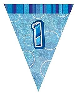Unique Party Banderines de 1 cumpleaños, Color Azul, Edad 1 (92141)