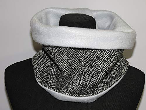 Zweilagiger Schlauchschal/Nackenwärmer / Loop aus Tweed-Woll-Mixgewebe mit Fischgrät-Muster in Naturweiß und Schwarz und aus hellgrauem Fleece -