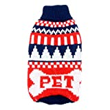 SMALLLEE LUCKY STORE Natale Classic Cable Dog Maglione Dolcevita lavorato a maglia Cane Maglione Maglieria Puppy Pet Capispalla Blu XXL