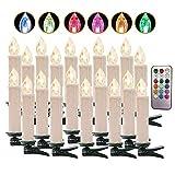 LED Kerzen Weihnachtskerzen Kerzenlichter Weinachten Fernbedienung Kabellos für Weihnachtsbaum Weihnachtsdeko Hochzeit Geburtstags Party (White, RGB-20er)
