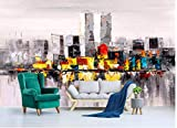 LONGYUCHEN Benutzerdefinierte 3D Silk Wandbild Tapete New York City Architektur Ölgemälde Stil Geeignet Für Schlafzimmer Wohnzimmer Tv Hintergrund Wand Dekoration Wandbild,160Cm(H)×250Cm(W)