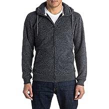Quiksilver Keller Zip - Sudadera con capucha y cremallera para hombre, color gris, talla XL
