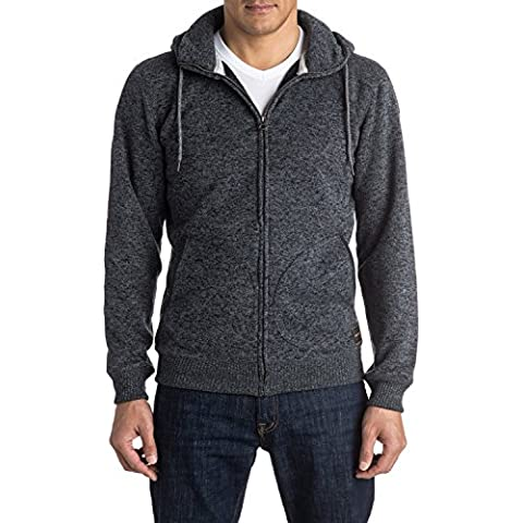 Quiksilver Keller Zip - Sudadera con capucha y cremallera para hombre, color gris, talla L