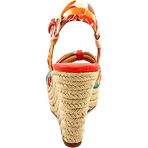 Sofft Peggie Offener Spitze Textile Keilabsätze Sandale Peach Multi