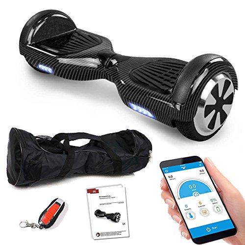 Smartway Balance Scooter 6, 5 Zoll 600W-Motion V.5 mit App Funktion, Bluetooth Lautsprecher, Kinder Sicherheitsmodus, Elektro Self Balance E-Scooter, 600 Watt (Carbon)
