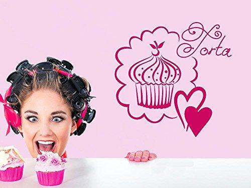 Wandtattoo für Küche Cupcake Muffin Kuchen Torta Torte Gebäck Herzen Kirsche (112x110cm // 826 oasis) - 826 Kirsche