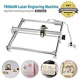 TOPQSC - Macchina per incisioni laser, fresa CNC, intagliatrice per legno, taglierina per incisioni, stampante fai da te, con logo, a 2 assi, per legno, plastica, 7000 MW