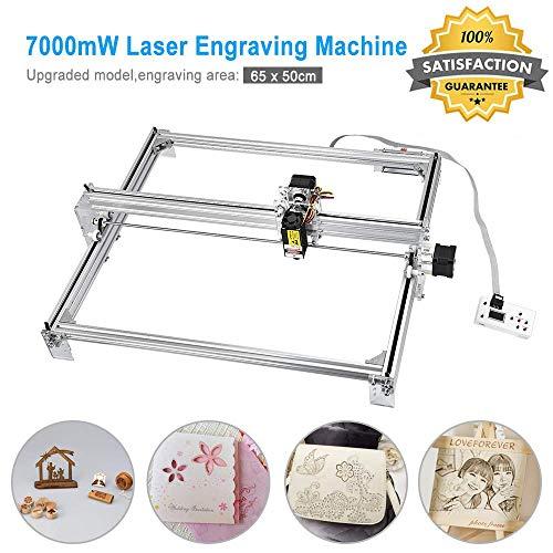 TOPQSC 7000 MW 65x50cm Laser Engraver-Graviermaschine, CNC-Fräser-Holzschnitzerei-Gravier-Schneidemaschine, DIY-Drucker-Logo-Bildmarkierung, 2-Achsen-Desktop-Drucker für Leder, Holz, Kunststoff