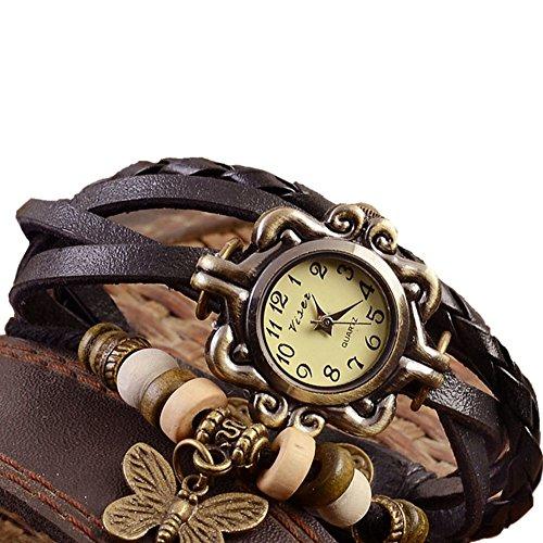 Outflower - Orologio da donna al quarzo, con cinturino in pelle, con ciondolo a forma di farfalla,...