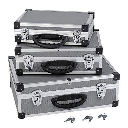 3er Set Aluminium Schloß mit je 2 Schlösser in jedem Koffer, Farbe silber, grau PRM10120 -