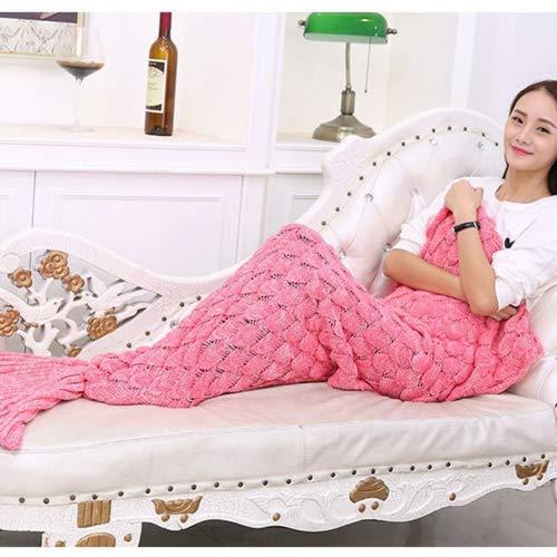 Handgefertigt Strick Meerjungfrau Schwanz Decke, geekshopalbert alle Jahreszeiten Warm Bett Decke Sofa Bettdecke Wohnzimmer Schlafsack für Kinder und Erwachsene, acryl, Pink 2, Für Erwachsene