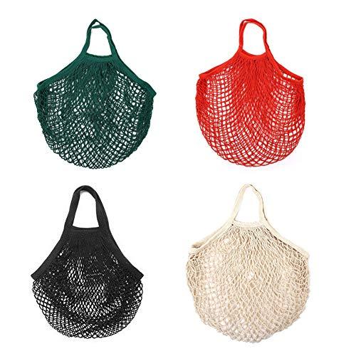 INTVN Netztasche, Cotton String Einkaufstasche Netz Tragbar Wiederverwendbare Tasche String Bag Shopping Bag für Einkaufen & Aufbewahrung Obst/Gemüse/Spielzeug, 4 Stück