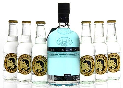 Gin & Tonic Set - The London No. 1 Original Blue Gin (1 x 0,7L) mit Thomas Henry Tonic Water (6 x 0,2L)