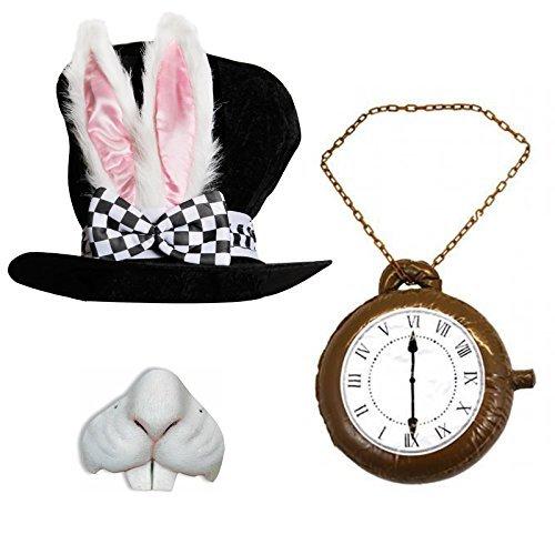 Erwachsene Deluxe Wonderland Kaninchen Hat mit den großen Ohren und Schleife + Jumbo Uhr + Kaninchen Nase ideal für Schule Buch Woche + Welt Buch Tag Fancy Kleid Kostüm (Alice White In Wonderland Kostüm Rabbit)