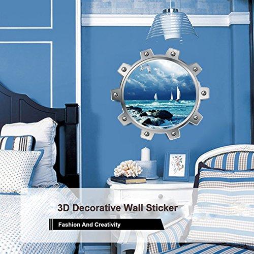 Yallylunn 3D Cityscape Wall Decorative Simple and Creative Removable Wall Stickers Kreativen Bringen Sie Farbe Und Leben In Ihr Zimmer Rund Wandbild