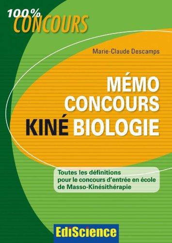 Mémo Concours Kiné Biologie - Toutes les définitions