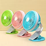 Clip on Fan, Mini USB Clip Desk Fan Personal Portable Cooling Rechargeable Battery Mini 6' Clip Fan for Home Office and Desk (2-Speed) Operated for PC Laptop Powerbank Table Workout Baby Stroller Car Camping 360° up and down Color - Assorted. Also Includes ( FREE GIFT- USB Led Light for Laptop / Smartphone worth £2)