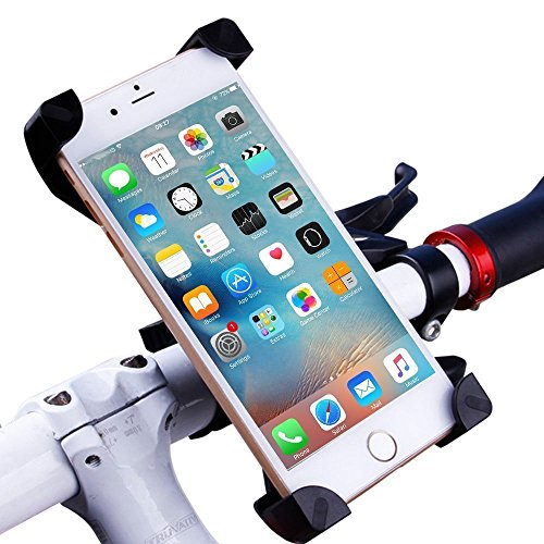 Bike Mount,EMIUP Universal Cell Phone Bicycle Handlebar & Motorcycle Holder Cradle with 360 Rotate for iPhone 6s 6 5s 5c 5,Samsung Galaxy S5 S4 S3, Google Nexus 5 4 and GPS Device Up to 3.7in wide-Black