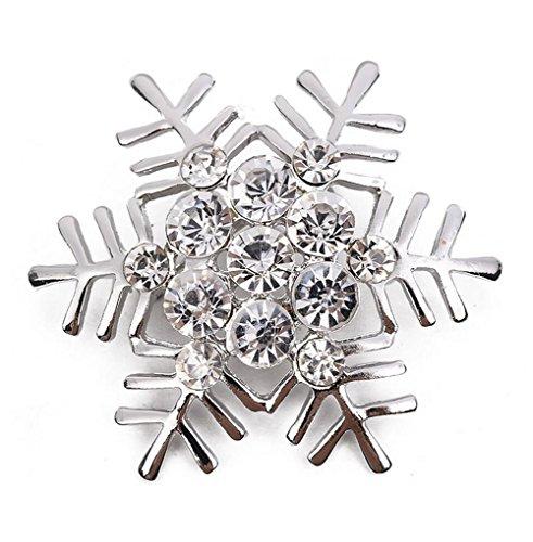 Hosaire 1X Brooch Zarte Schneeflocke Form Design Broschen Brosche Strass Kleider Zubehör Anzug Weihnachten Weihnachtsschmuck Silber