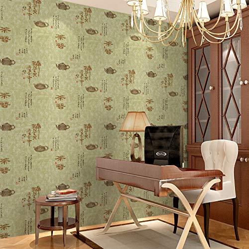 Tapete selbstklebend klassischen Teehaus Hintergrund Wanddekoration Tapeten grüner Tee Straße 0,6m * 10m -