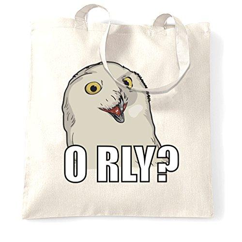 O RLY Gufo Meme Joke Pun divertente Internet Snowy Hipster Sacchetto Di Tote White