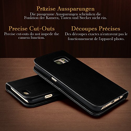 iPhone 6S Hülle Schwarz mit Karten-Fach [OneFlow Book Klapp-Hülle] Etui Schutzhülle Handytasche Kunst-Leder Handyhülle für iPhone 6/6S Case Flip Cover Tasche Onyx