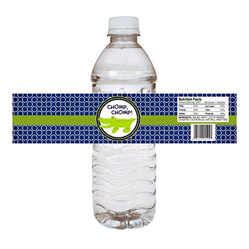 orations - EU Alligator-Party-Wasser-Flaschen-Etiketten - Krokodil-Geburtstags-Babyparty-Party-Aufkleber Getränk - Set 12 ()