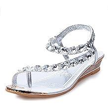 YOUJIA Mujer Thong Sandalias Casual Sandalias Plana Zapatos Sandalias De Diamante De Imitación