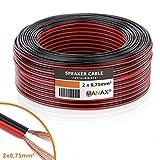 MANAX-Cable de Altavoz (2x 0,75mm², CCA, Rojo/Negro Rollo de 50m