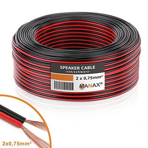 Manax-Cable de Altavoz (2x 0,75mm², CCA, Rojo/Negro 25m Rollo