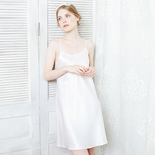 Lilysilk Schlicht Damen Seide Nachtkleid Nachthemd Kurz 22 Momme Weiß
