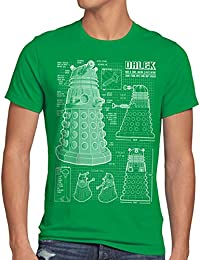 style3 Dalek Dessin Bleu T-Shirt Homme who time police doctor box space dr tv