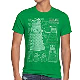 style3 Dalek Blaupause Herren T-Shirt who time police doctor box space dr tv, Größe:XL;Farbe:Grün