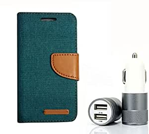 Aart Fancy Wallet Dairy Jeans Flip Case Cover for SamsungSamsung7106 (Green) + Dual USB Port Car Charger with Smartest & Fastest Technology by Aart Store.