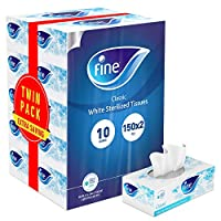 Fine, Facial Tissues, Classic, 150x2 Ply White Tissues, pack of 10 boxes, 1500 tissues