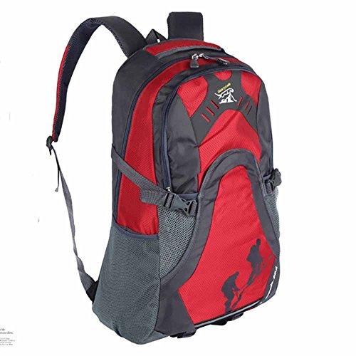 AllureFeng Wasserdichte großvolumigen Outdoorsport Rucksack Wanderrucksack Student Tasche Wandern Männer Red