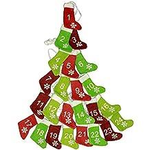 HAAC Calendario de Adviento Guirnalda Rojo Verde de Adviento con 24 Calcetines y Copo de Nieve