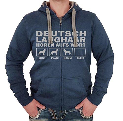 DEUTSCH LANGHAAR Jagdhund Jäger DK - JACKE HÖREN AUFS WORT Motiv Siviwonder Unisex HUND Kapuzen Zip Pullover Sweatjacke Hunde denimblau 4XL (Dk Herren-kapuzen-zip-sweatshirt)
