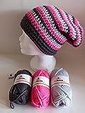 my boshi Häkelset Mütze, schwarz, silber, neonpink wie abgebildet m. 150g myboshi Wolle, Label und Lara's Creations Anleitung (Set 1: Wolle + Label)
