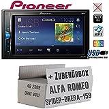 Alfa Romeo 159 Spider Brera Navi - Autoradio Radio Pioneer MVH-A100V - 2DIN USB Touch TFT - Einbauzubehör - Einbauset