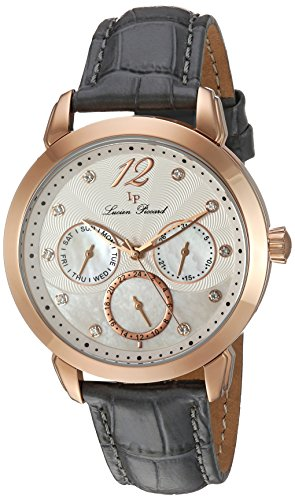 Lucien Piccard Women's 'Rivage' Quartz Stainless Steel and Leather Casual Watch, Color:Grey (Model: LP-40038-RG-02MOP-GRYS)