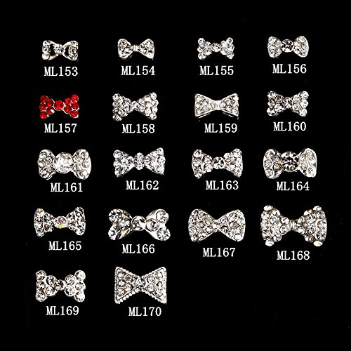 Generic 1000pcs NEW Bling Rhinestone Zircon Bows nail art alloy accessories sparkling diamond delicate finger phone stickers jewerly