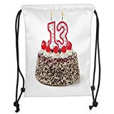 ZKHTO Drawstring Sack Backpacks Bags,13th Birthday Decorations,Cake with Numeral Candles and Cherries Yummy Desert For Party, Soft Satin,5 Liter Capacity,Adjustable String Closure,T