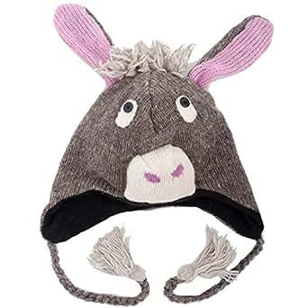 Esel (Light Grey Donkey) - Strickmütze mit Tier-Charakter im Nepal Stil (Animal Hat)