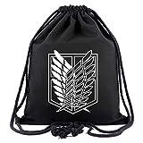 Cosstars Attack on Titan Anime Sporttasche Turnbeutel Training Tasche Gym Sack Drawstring Bag Schwarz-1