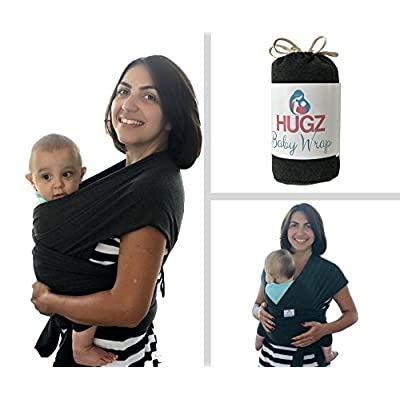 HUGZ Baby Wrap - Carrier Sling for Newborns Toddlers & Infants - Organic 95% Stretchy Soft and Comfortable Cotton Fabric - Portable Compact Breastfeeding Cover - Machine Washable - Lifetime Guarantee  Manduca