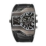 Msxx Dual Time Watch, Large Face Military Steampunk 9 Pointer Sport Pilot Watch Men,Black