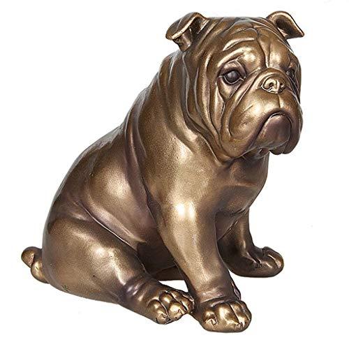 CZWYF Bulldogge Hund Statue, Bulldogge Statue, 6,1 x 4,3 x 5,5 Zoll, Polyresin, Bronze Finish Sculpture Statue - Polyresin Bronze-finish